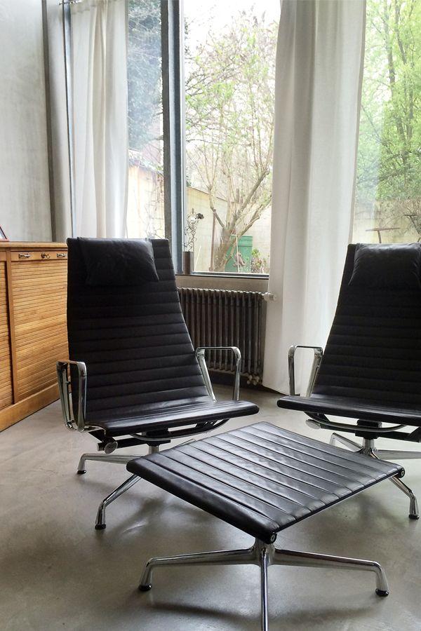 Sessel und Fußbank Charles Eames/Vitra